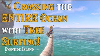 Crossing the ENTIRE OCEAN with Tree Surfing! Looking for the DLC Island in Zelda Breath of the Wild
