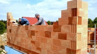 Building Industry. Construction Of A Family House. Part 11 Full HD! Bricklaying Porotherm Dryfix 3