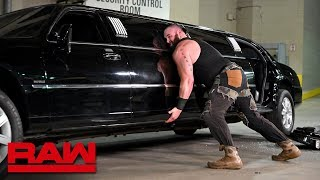 Furious Braun Strowman pushes over Mr. McMahon's limousine: Raw, Jan. 14, 2019