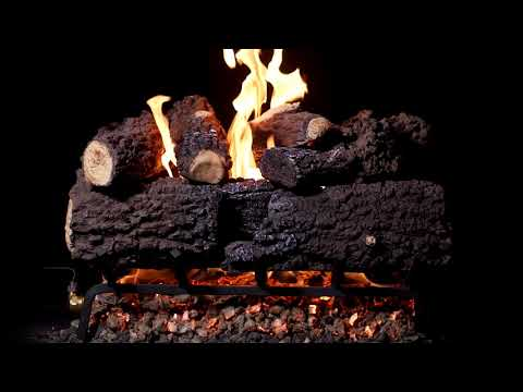 BBQGuys Canyon Fire Charred Oak Vented Gas Log Set