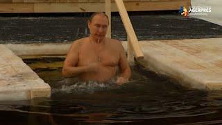 De Boboteaza pe rit vechi, Putin n-a renunţat la tradiţie şi s-a scufundat în apa rece ca gheaţă