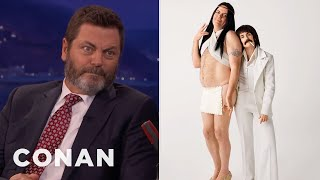 Nick Offerman & Megan Mullally Dressed As Sonny & Cher  - CONAN on TBS