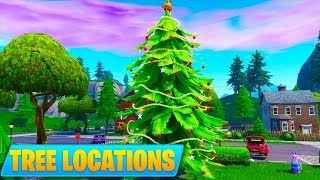 ALL HOLIDAY TREE LOCATIONS - Dance in front of different Holiday Trees (14 Days of Fortnite Day 9)