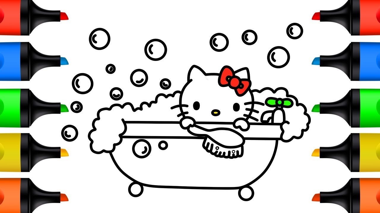 How to Draw Hello Kitty Bathtub for Kids Learn Colors Drawing and Coloring Pages for Children
