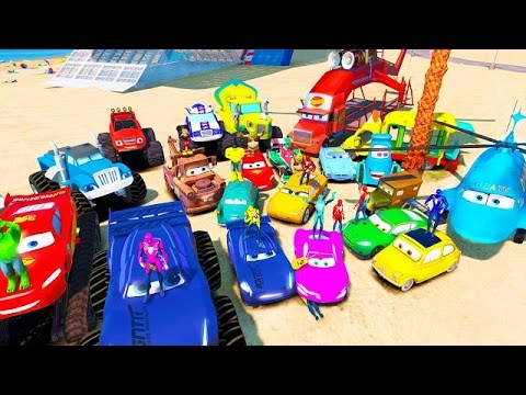 Colors Spiderman And McQueen Cars 3 Jackson Storm Cruz Ramirez Tow Mater Mack Truck Dinoco