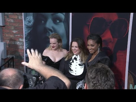 "At the premiere of their new drama ""The Kitchen,"" Melissa McCarthy and Elisabeth Moss discuss the film's themes and working with women on set. (Aug. 6)"