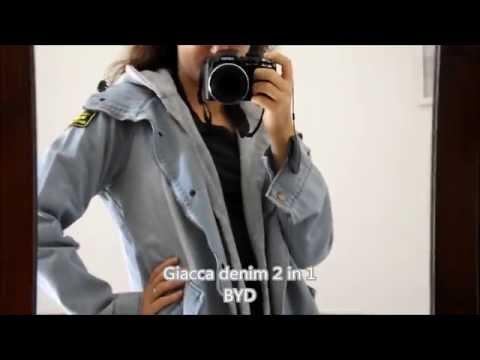 Parka giacca cappotto da donna denim jeans 2 pezzi felpato BYD