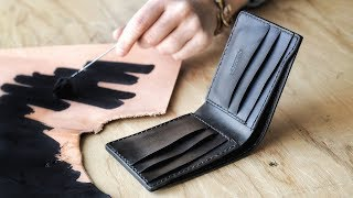 Making A Black Leather Bifold Wallet