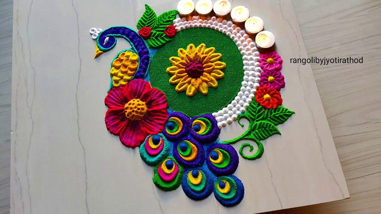 satisfying peacock rangoli design by jyoti rathod