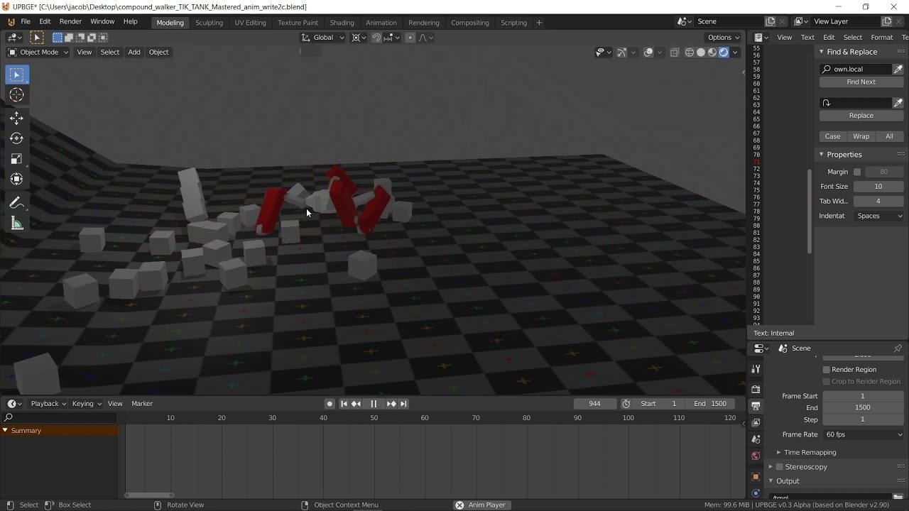Animation keyframed using UPBGE