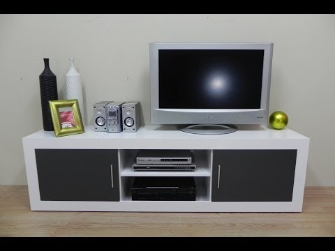 Mesa de TV, modulo bajo de salon comedor 180cm largo en grafito, blanco o nogal.