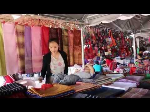 Video Souvenir shops at morning market in Lao