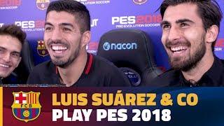 Luis Suárez leads Barça's Hilarious 6 Player Pro Evo Challenge! - dooclip.me