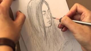 Смотреть онлайн Как нарисовать быстрый портрет девушки карандашом