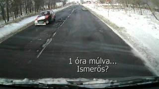 Hóátfúvások a 33-as úton (CarCam.hu)