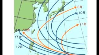 台風の月別進路傾向
