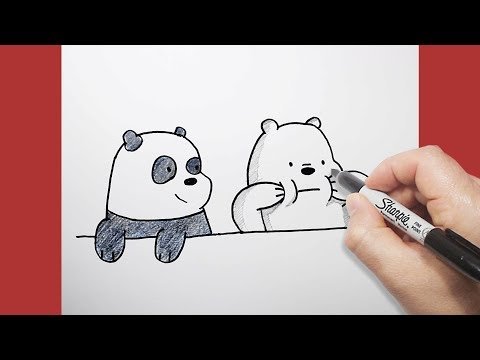 الدببة الثلاثة | كيف ترسم قطبي وبندا | بالخطوات | drawing we bare bears