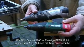 Vergleich Dremel 8200 vs Parkside PFBS12A1 Geradschleifer - trennen von 2mm Alublech