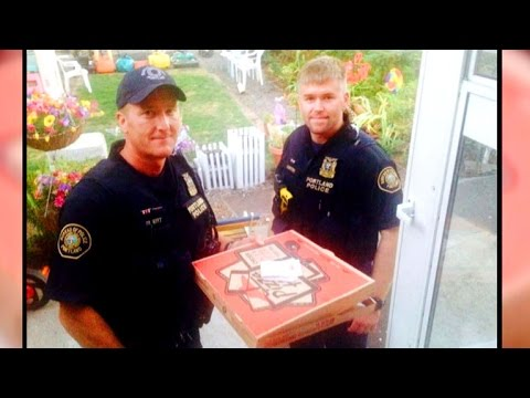 Portland police deliver pizza after helping injured deliveryman