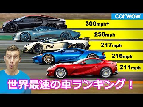 最高速度が速い車ランキングTOP21(各メーカーから1台ずつ)
