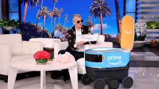 Amazon's New Delivery Robot 'Scout' Brings Ellen Her New Be Kind Box Products!