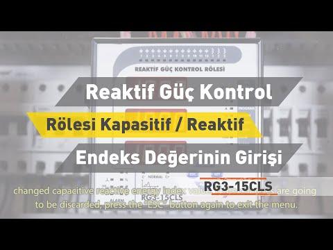 RG3 - 15 CLS Reaktif Güç Kontrol Rölesi - Kapasitif / Reaktif Enerji Endeks Değerinin Girilmesi