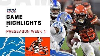 Lions vs. Browns Preseason Week 4 Highlights | NFL 2019