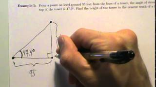 Trig Applications - Example 1 - Angle Of Elevation