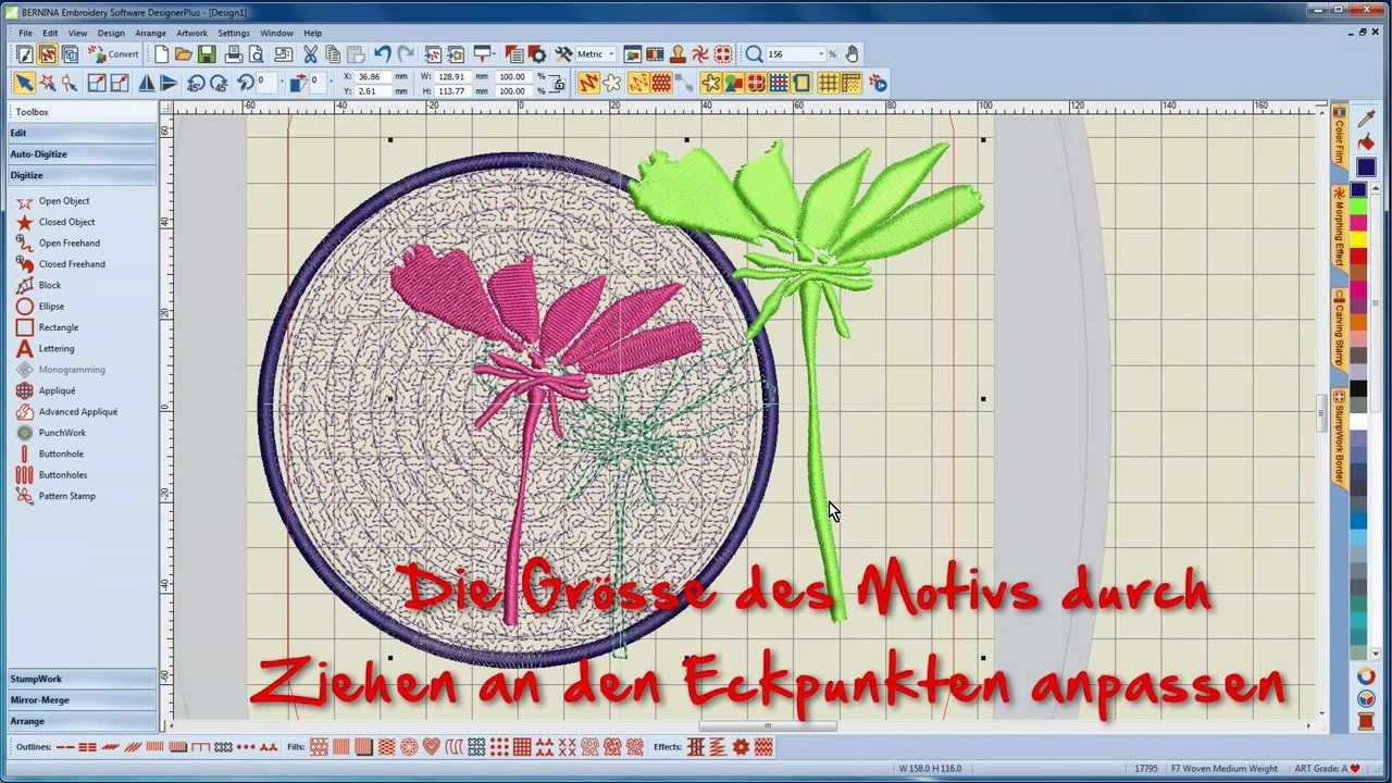 BERNINA Sticksoftware 7 Tutorial 3/12 - Erstellen eines PunchWork-Motives in der Software