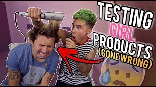 GUYS TESTING GIRL PRODUCTS 2 (STRAIGHTENING HIS HAIR *GONE WRONG*)