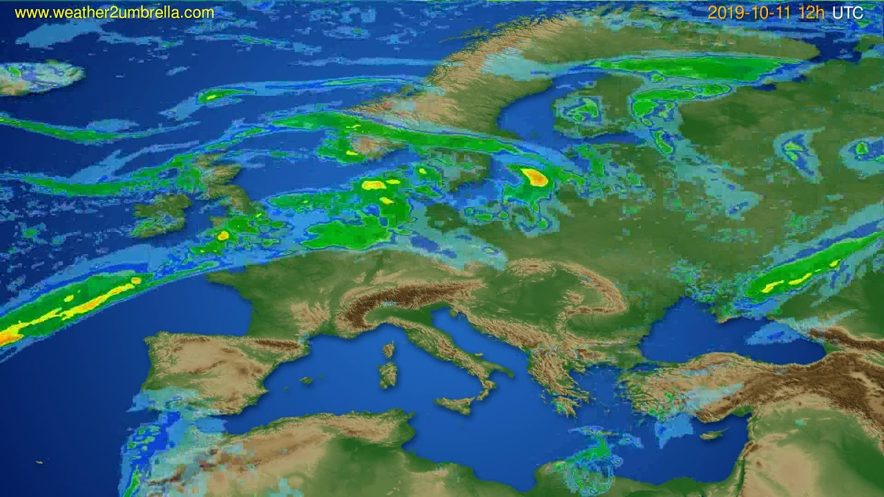 Radar forecast Europe // modelrun: 00h UTC 2019-10-11