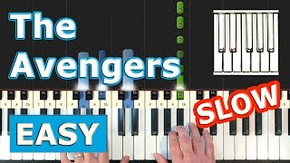 The Avengers Theme - SLOW EASY Piano Tutorial - Sheet Music (Synthesia)