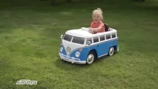 akumulatorski otroški avto Volkswagen Transporter T1 z daljinskim upravljalnikom, moder