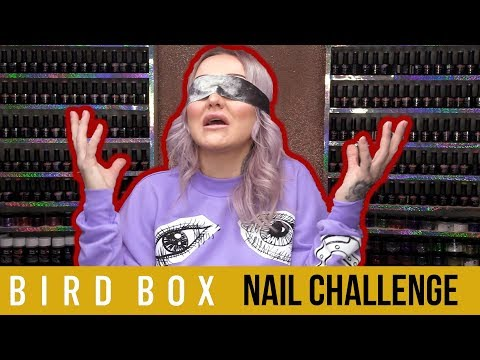 BIRD BOX NAIL CHALLENGE - ACRYLIC SCULPT BLINDFOLDED