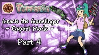 Terraria 1.3 Expert Gunslinger Part 4 | New Base! Gracie vs Brain of Cthulhu! | 1.3.2 Let's Play