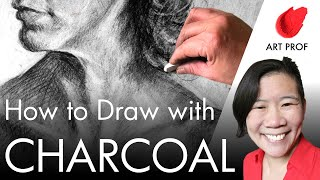 Art Professor Draws In Charcoal With Cross-Hatching
