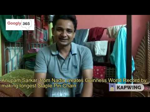 Anupam Sarkar From Nadia Creates Guinness World Record By Making The Longest Staple Pin Chain