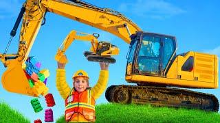 Kinder spielen und lernen Farben mit Bagger und Lastwagen