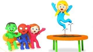 Kids Jumping Trampoline Challenge ❤ Cartoons For Kids