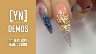 Young Nails Nail Demo - Gold Flakes Nail Design - Gel Nails