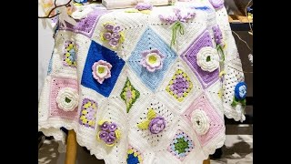 Amazing Crochet Blanket Afghan With Flower Free Pattern.
