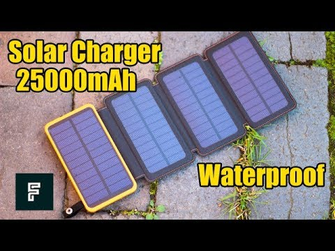 Solar Charger with 4 Solar Panels 25000mAh Unboxing and Hands-on