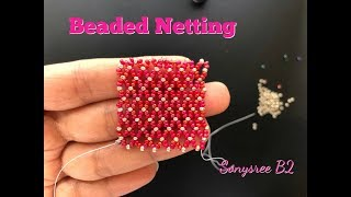 Beaded netting Easiest Method you have ever seen.👍🏻How to do Horizontal Beaded Netting Stitch