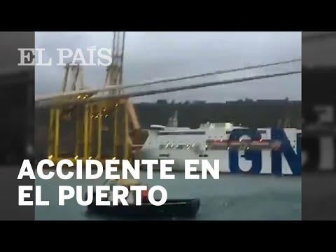 Пожар в порту Барселоны: пассажирский паром врезался в кран (ВИДЕО)