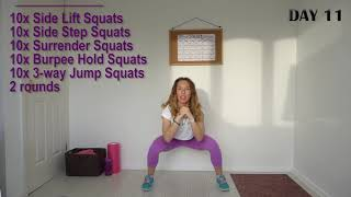 DAY 11 | 30-day SQUAT Challenge | 100 Squats A Day | The Best Booty Challenge