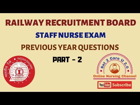 RRB Staff Nurse Exam 2019 Model Question Paper Part-1| Railway