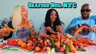 Seafood Boil with Sky and Ceaser from Black Ink NYC
