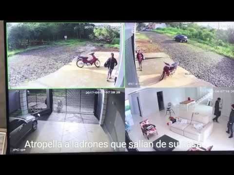 Home owner comes home and surprises 2 thieves coming out of his house