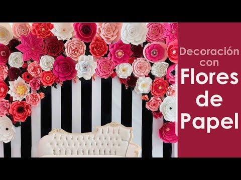 decoracion con flores de papel