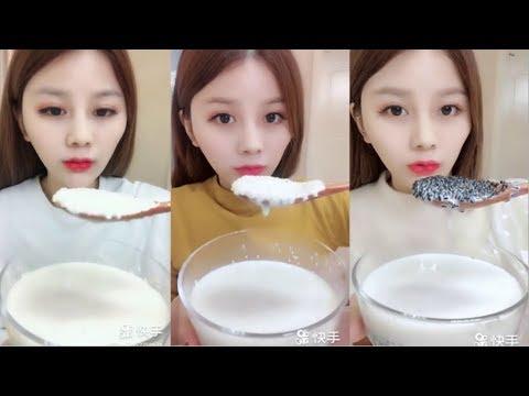 Dondurulmamış Sulu Susamlı Süt Yemek #128 ASMR ( Eating Juicy Sesame Milk)